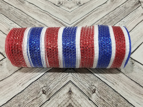10 inch patriotic 4th of July Metallic mesh. Red, White, and Blue deco mesh. Designer DIY offers metallic mesh, jute mesh, burlap mesh, fabric mesh, poly mesh. Perfect for a wreath, garland, swag, etc.