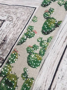 "2.5"" Cactus Ribbon on Tan Linen Ribbon"