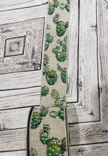 "Load image into Gallery viewer, 2.5"" Cactus Ribbon on Tan Linen Ribbon"
