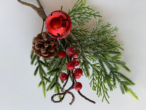 Frosted Berry Pick | Pine Cone & Bell - Designer DIY