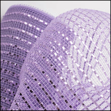 Load image into Gallery viewer, 10 inch light purple metallic mesh. Lavender mesh. Designer DIY offers metallic mesh, jute mesh, burlap mesh, fabric mesh, poly mesh. Perfect for a wreath, garland, swag, etc.