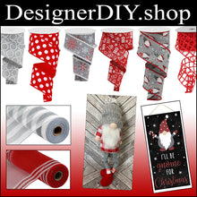 "Load image into Gallery viewer, 2.5"" Gray with White Glitter Dotted Circle Ribbon - Designer DIY"