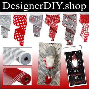"2.5"" Gray with White Glitter Dotted Circle Ribbon - Designer DIY"