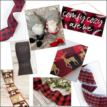 "Load image into Gallery viewer, 4"" Red and Black Buffalo Plaid Check Ribbon - Designer DIY"
