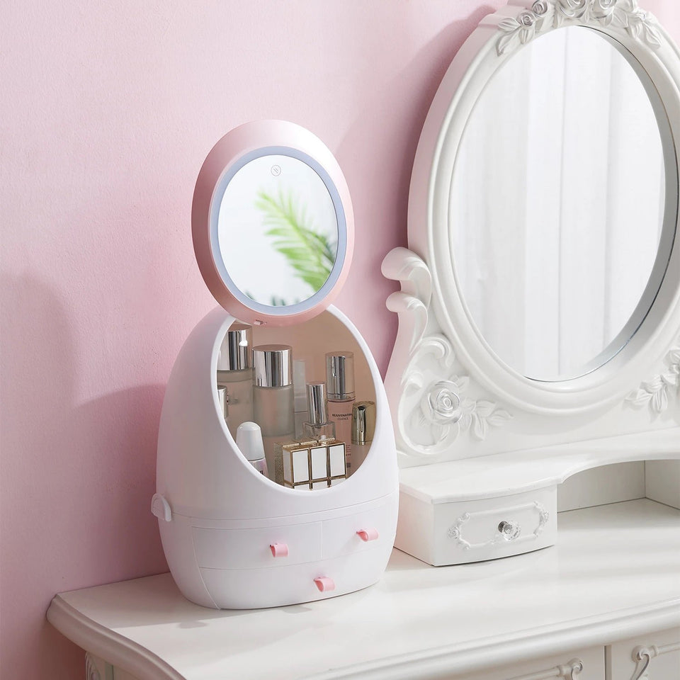Detachable Handy Cosmetic Organizer with LED 360 HD Mirror