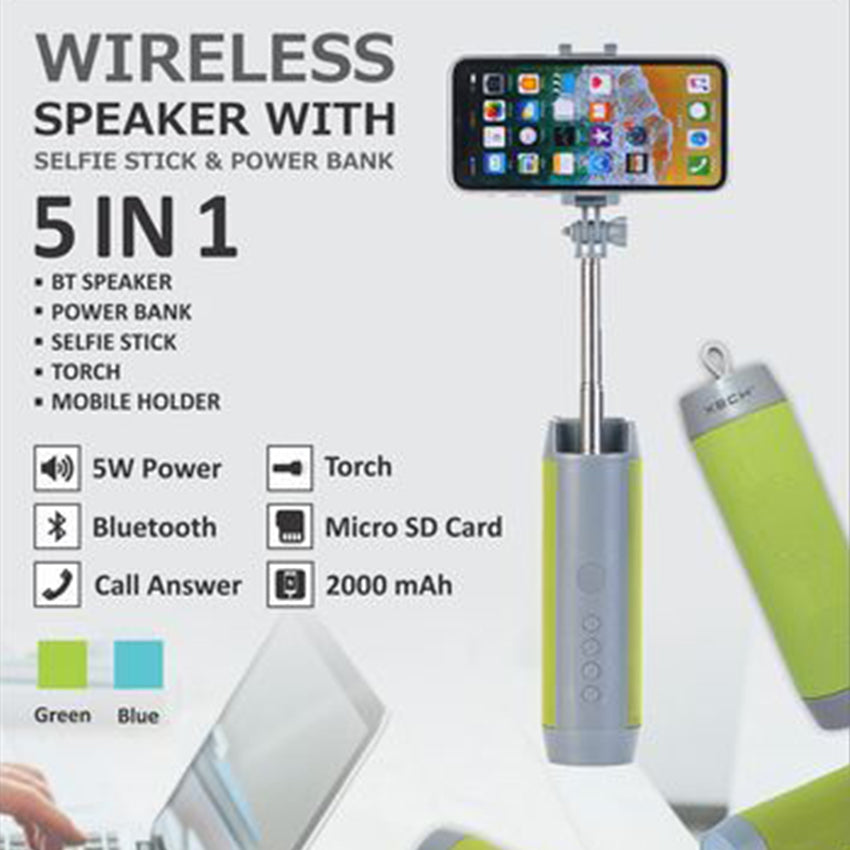 Multifunction 5 in 1 Wireless Bluetooth Speaker, Monopod, PowerBank, Flashlight and Mobile Phone Holder
