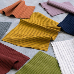 Swatches of our Medium Weight Bamboo Rib Knit