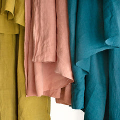 Three of our Washed Linens hanging