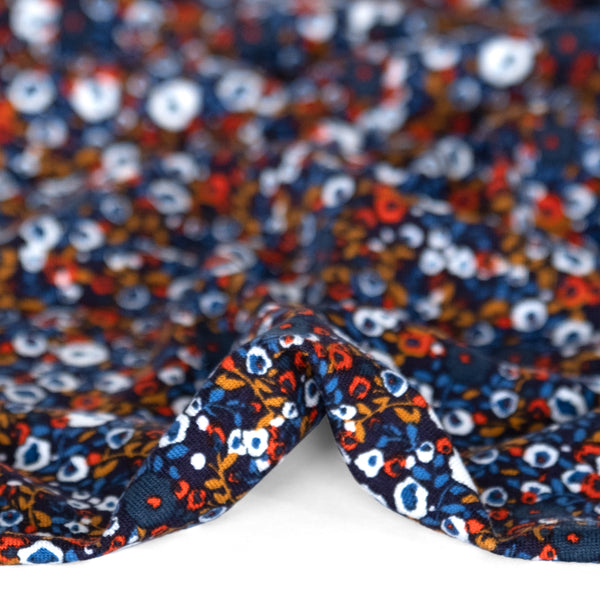 Designer Deadstock Mini Flower Viscose Jersey - Navy/Coral/White | Blackbird Fabrics