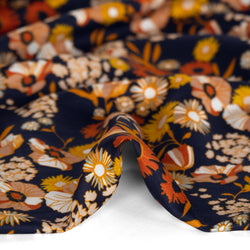 Designer Deadstock Flower Garden Viscose Silk Twill - Midnight Navy/Rust | Blackbird Fabrics