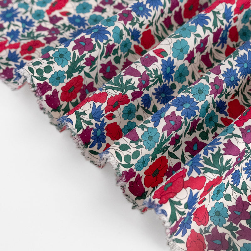 Poppy & Daisy Tana Lawn Cotton - Cherry/Blue
