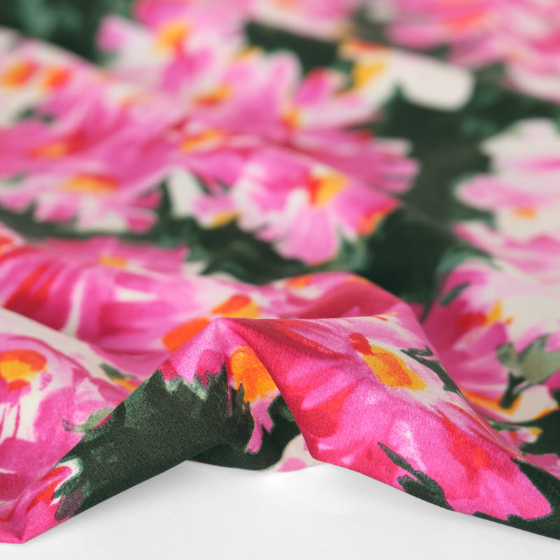 Designer Deadstock Brushstroke Floral Cotton Poplin - Hot Pink/Green