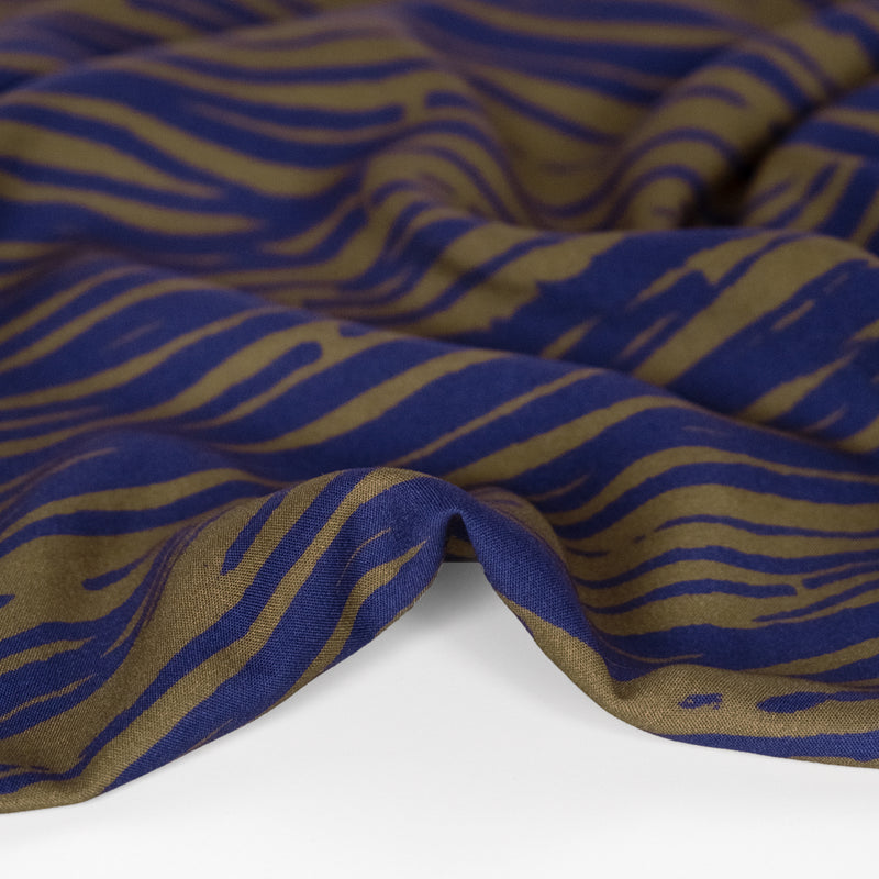 Abstract Zebra Printed Ecovero Challis - Olive/Navy