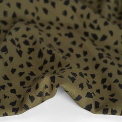 Abstract Cheetah Printed Ecovero Challis - Military/Black