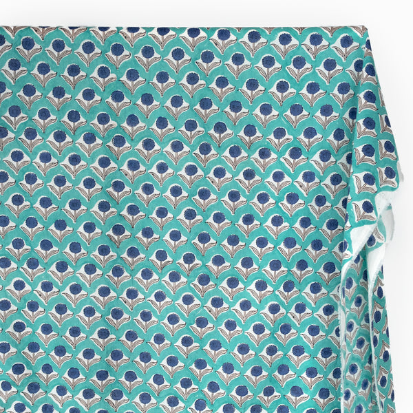 Bloom Block Printed Organic Cotton Batiste - Aqua/Denim