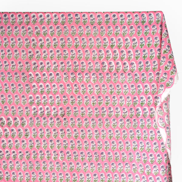 Bloom Block Printed Organic Cotton Batiste - Candy Pink/Green