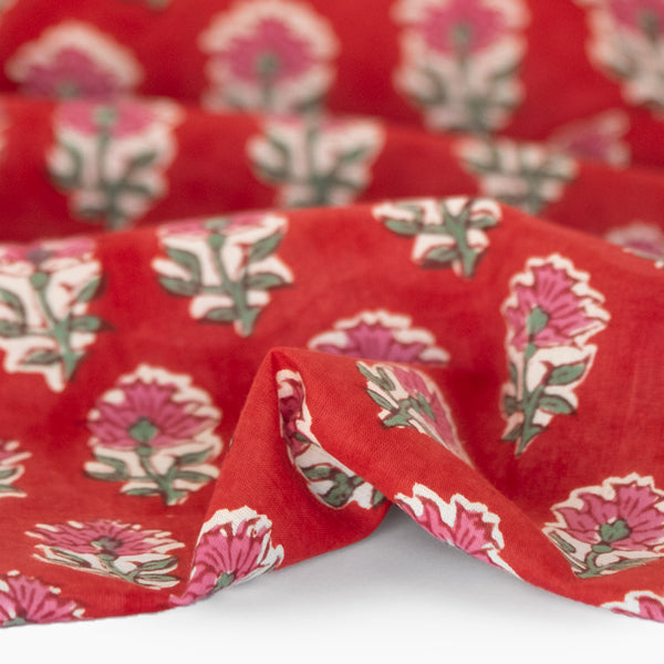Bloom Block Printed Organic Cotton Batiste - Crimson/Pink