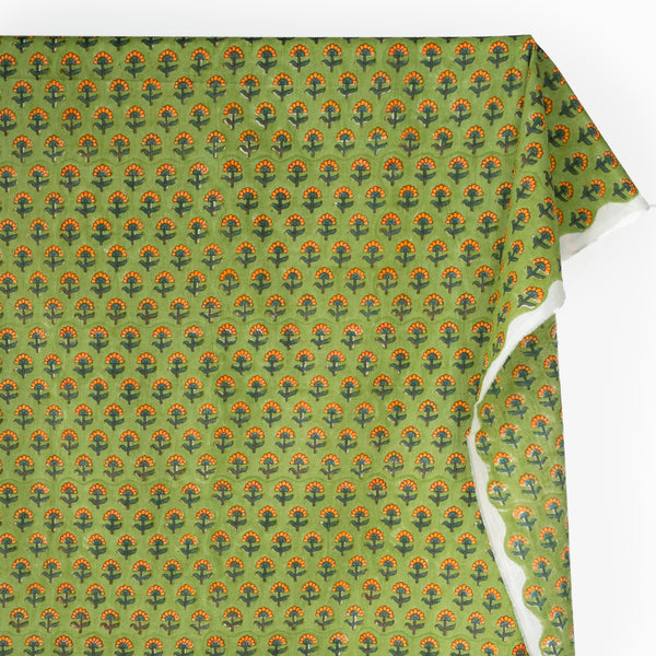 Bloom Block Printed Organic Cotton Batiste - Lime/Orange