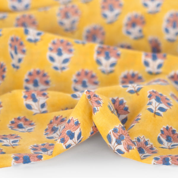 Bloom Block Printed Organic Cotton Batiste - Yellow/Blue/Coral