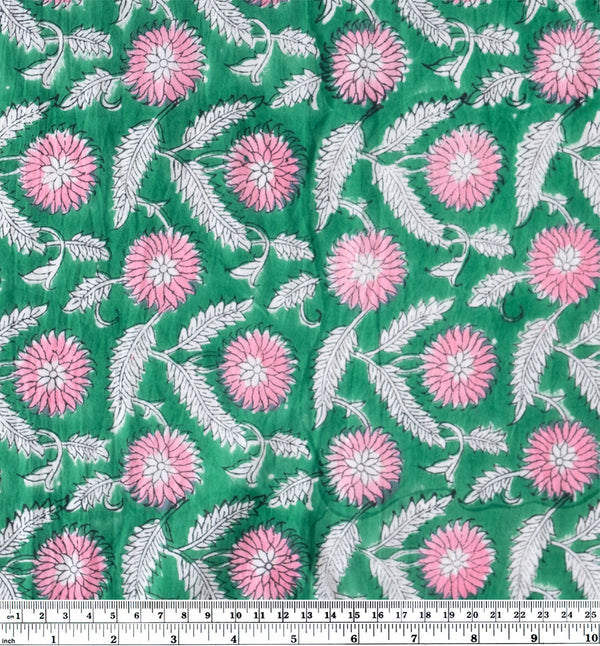 Tapestry Block Printed Organic Cotton Batiste - Green/Pink