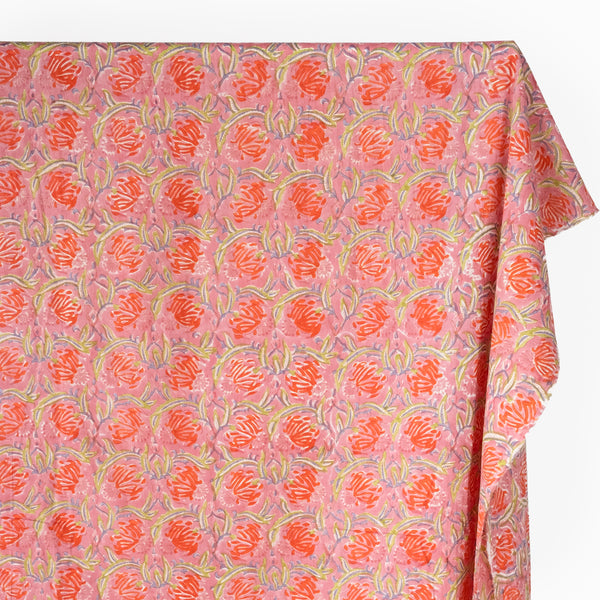 Tapestry Block Printed Organic Cotton Batiste - Dusty Pink/Lime