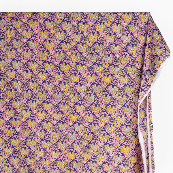 Tapestry Block Printed Organic Cotton Batiste - Pink/Yellow