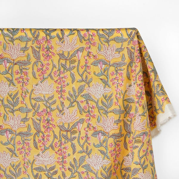Vine Block Printed Organic Cotton Batiste - Pale Yellow/Pink