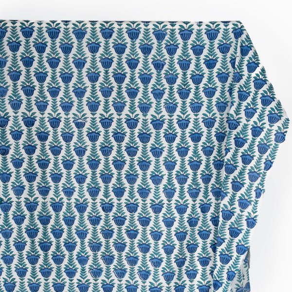 Vine Block Printed Organic Cotton Batiste - White/Ocean