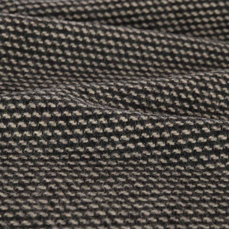 Deadstock 100% Wool Jacquard Coating - Black/Ecru