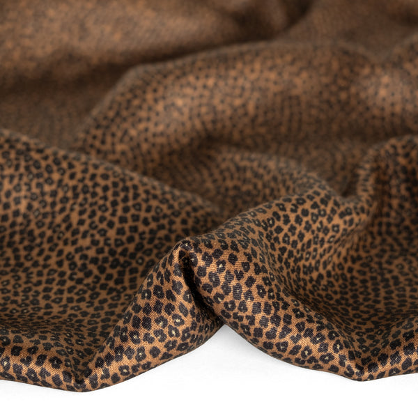Mini Cheetah Printed Ecovero Satin - Warm Brown