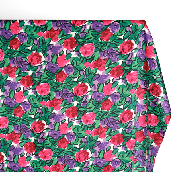 Deadstock Painted Floral Cotton Sateen - Grape/Pink