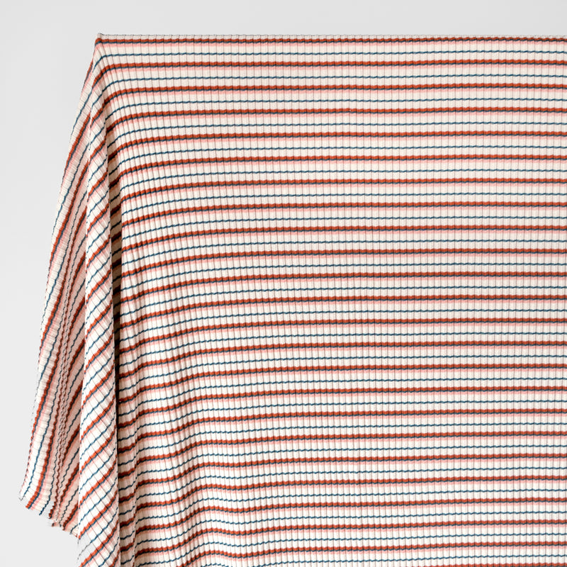 Retro Stripe Ribbed Jersey - Ivory/Pink/Teal