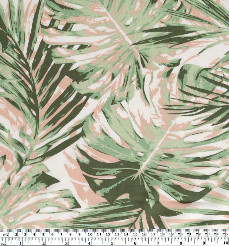 Monstera Fronds Rayon Poplin - Sage