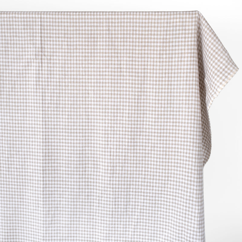 Gingham Linen - Pebble/White