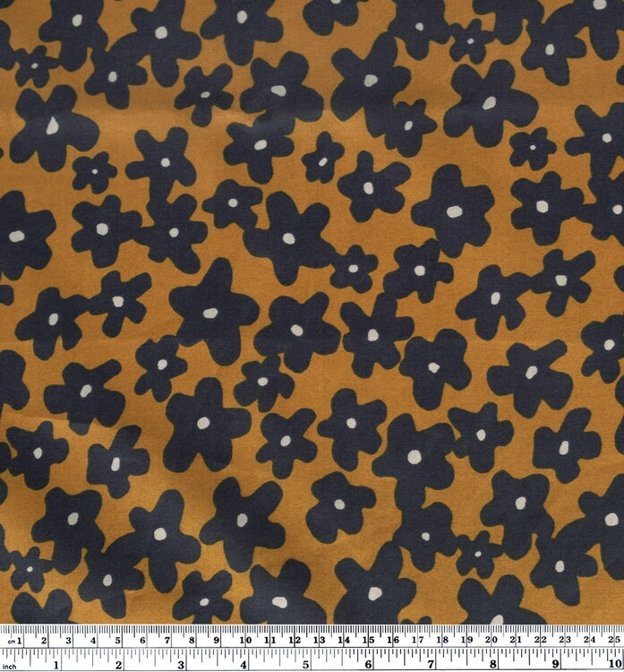 Floral Print Cotton Lawn - Navy/Ochre