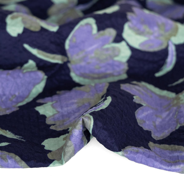 Painted Floral Japanese Crinkle Cotton - Dusty Teal/Navy | Blackbird Fabrics