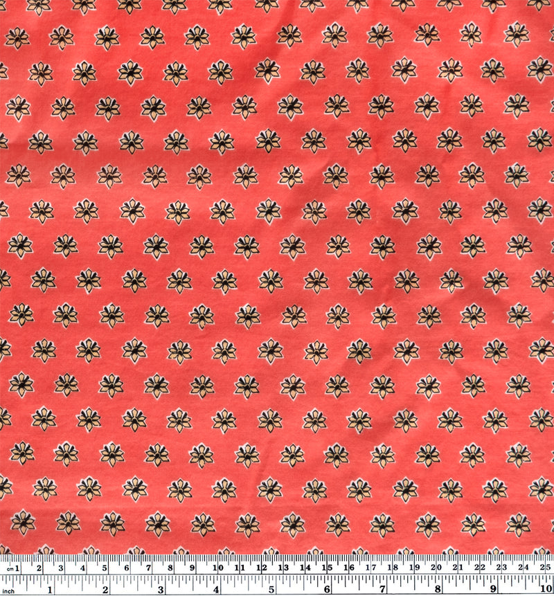 Mini Motif Cotton Lawn - Deep Coral/Beige