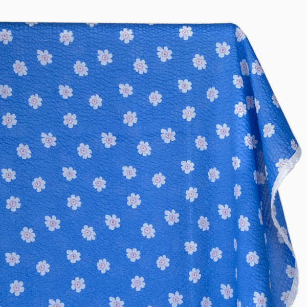 Bloom Print Japanese Crinkle Cotton - Sky Blue | Blackbird Fabrics