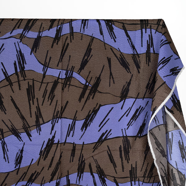 Abstract Lines Crinkle Cotton - Cornflower/Charcoal