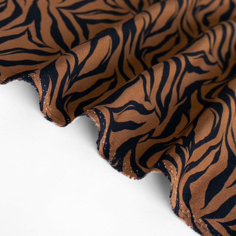 Tiger Printed Ecovero Twill - Warm Brown