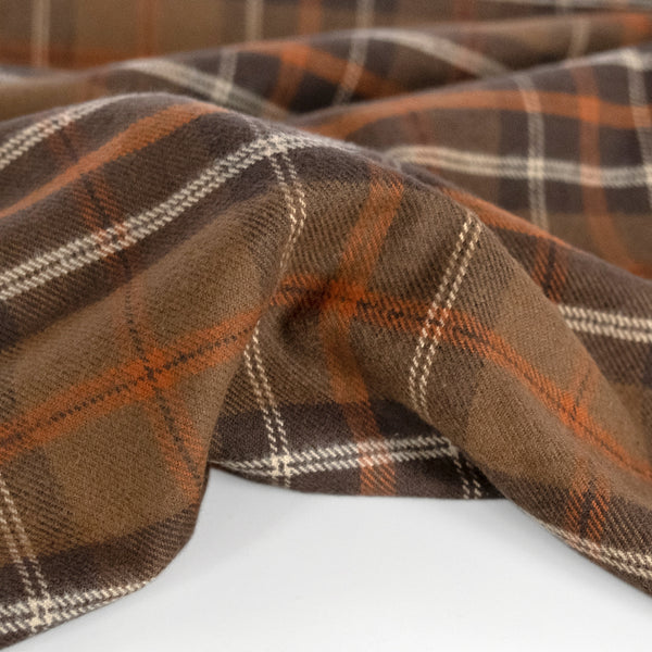 Plaid Cotton Flannel Shirting - Brown/Rust