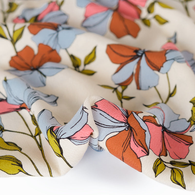 Prairie Floral Rayon Crepe - Cream/Powder Blue/Rose