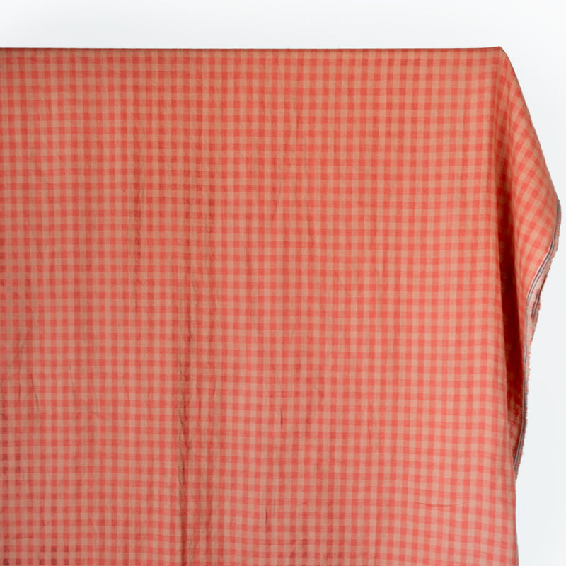 Check Yarn-Dyed Linen - Guava/Beige
