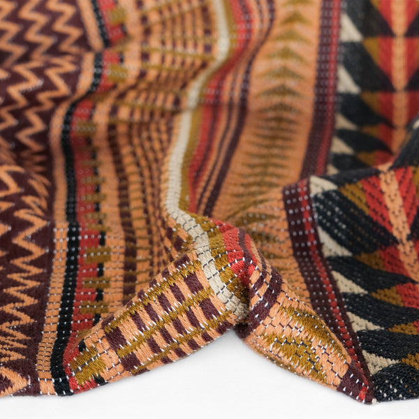 Geo Cotton Jacquard - Apricot/Black
