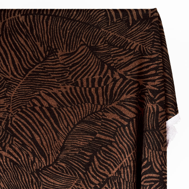 Palm Leaf Printed Sweater Knit - Chocolate