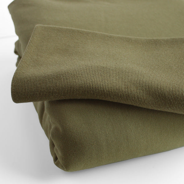 Bamboo & Cotton 2x2 Ribbing - Light Olive