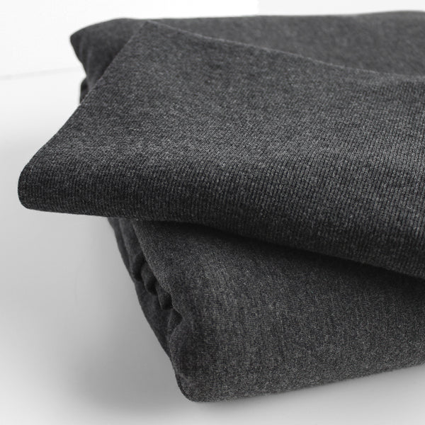 Bamboo & Cotton 2x2 Ribbing - Heather Charcoal