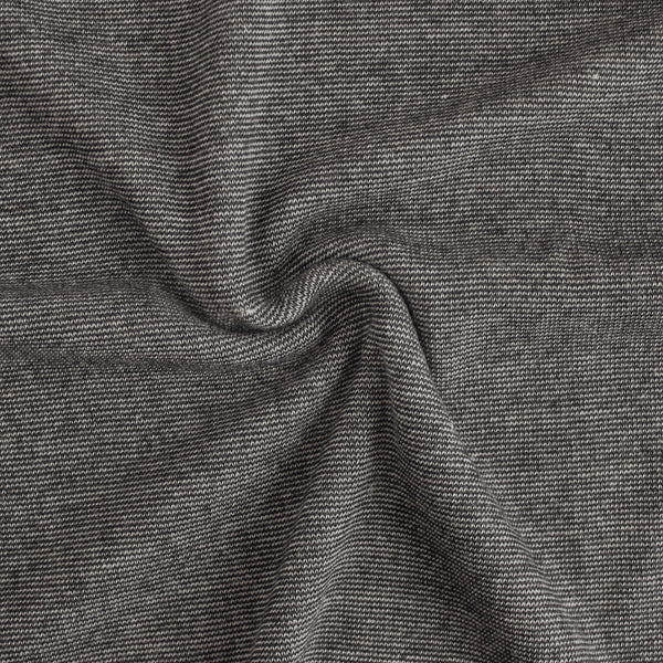 Speckled Cotton Ribbing - Charcoal/Ecru