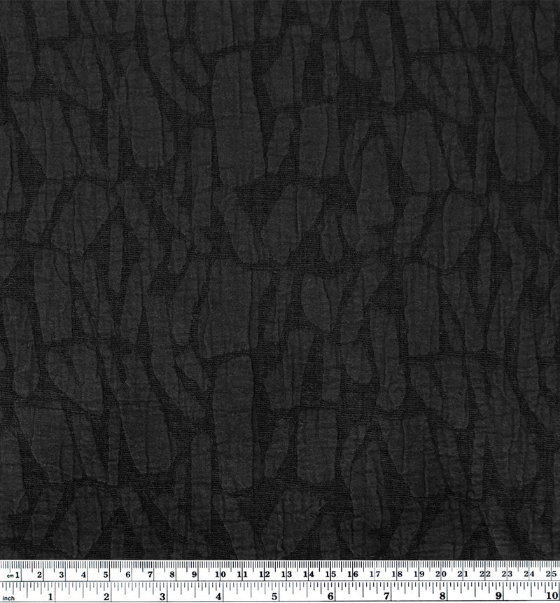 Abstract Textured Cotton Linen Jacquard - Black
