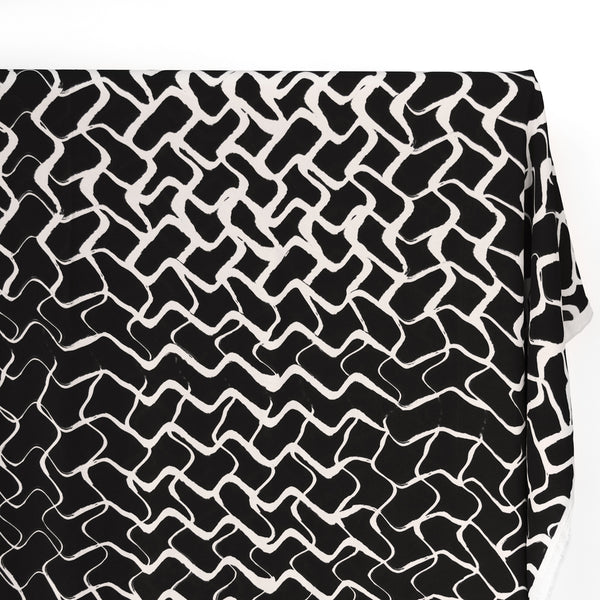 Deadstock Wavy Grid Viscose Crepe - Black/White
